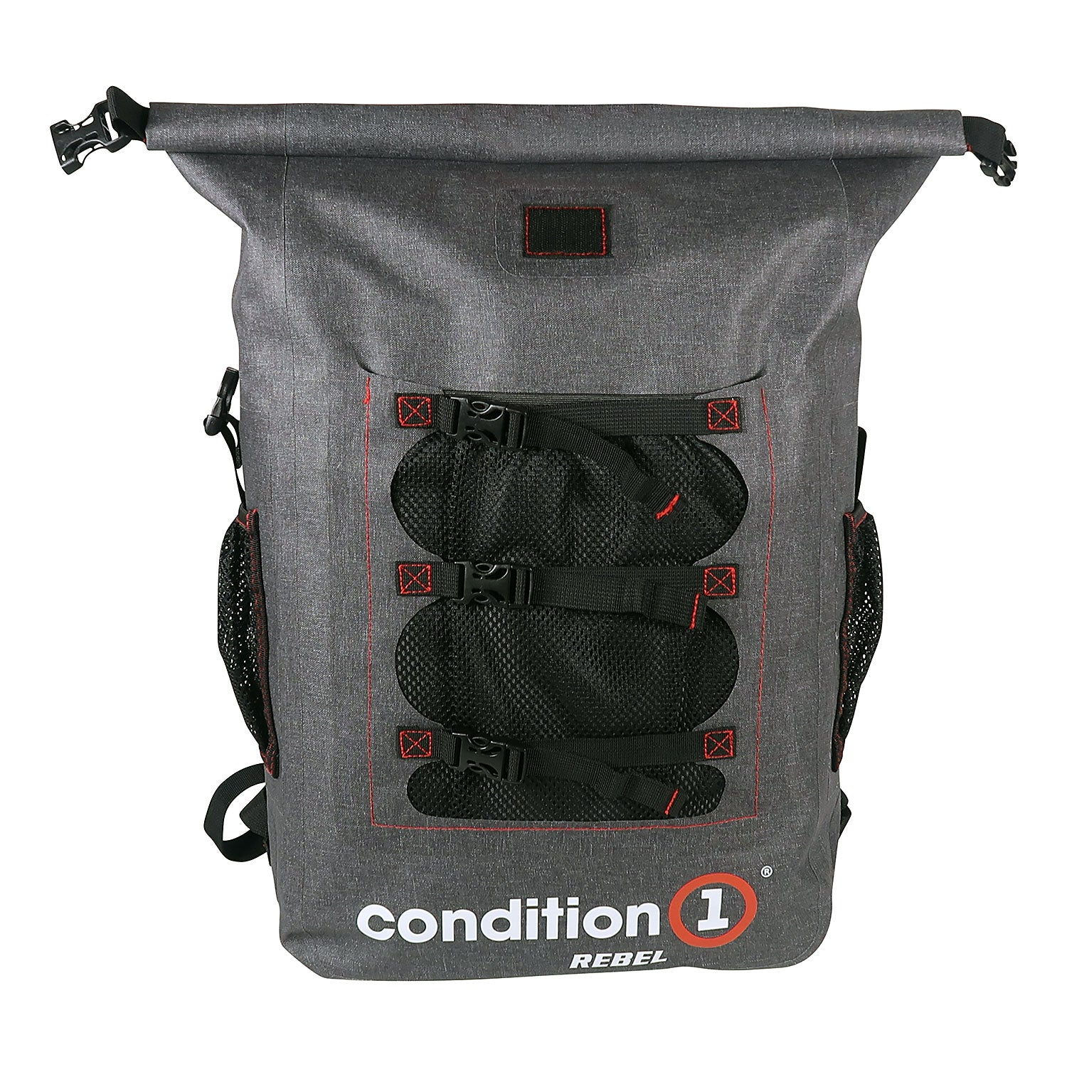 Load image into Gallery viewer, front view of the 30L Dry-Bag with Front Net Pouch
