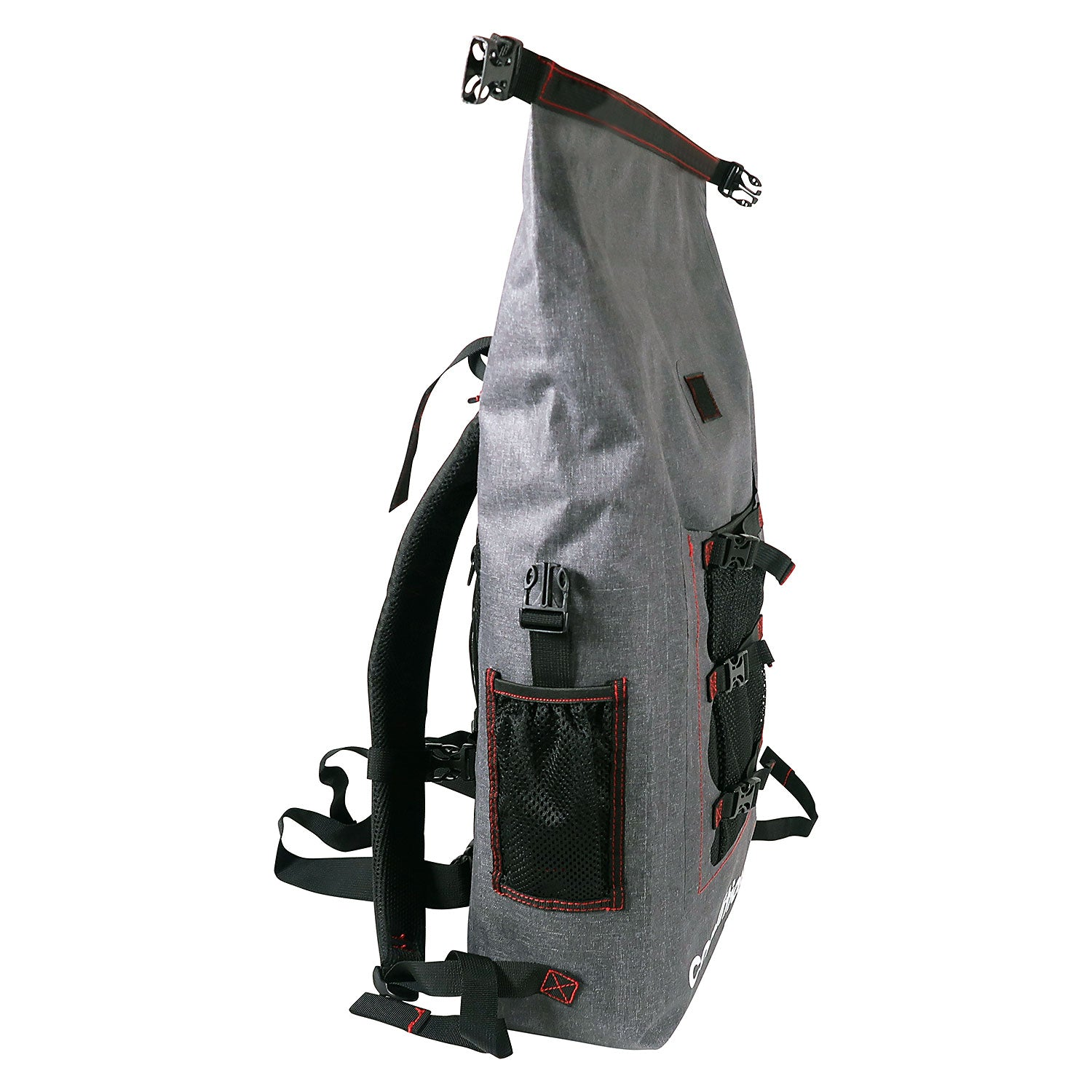 side view of the 30L Dry-Bag with Front Net Pouch
