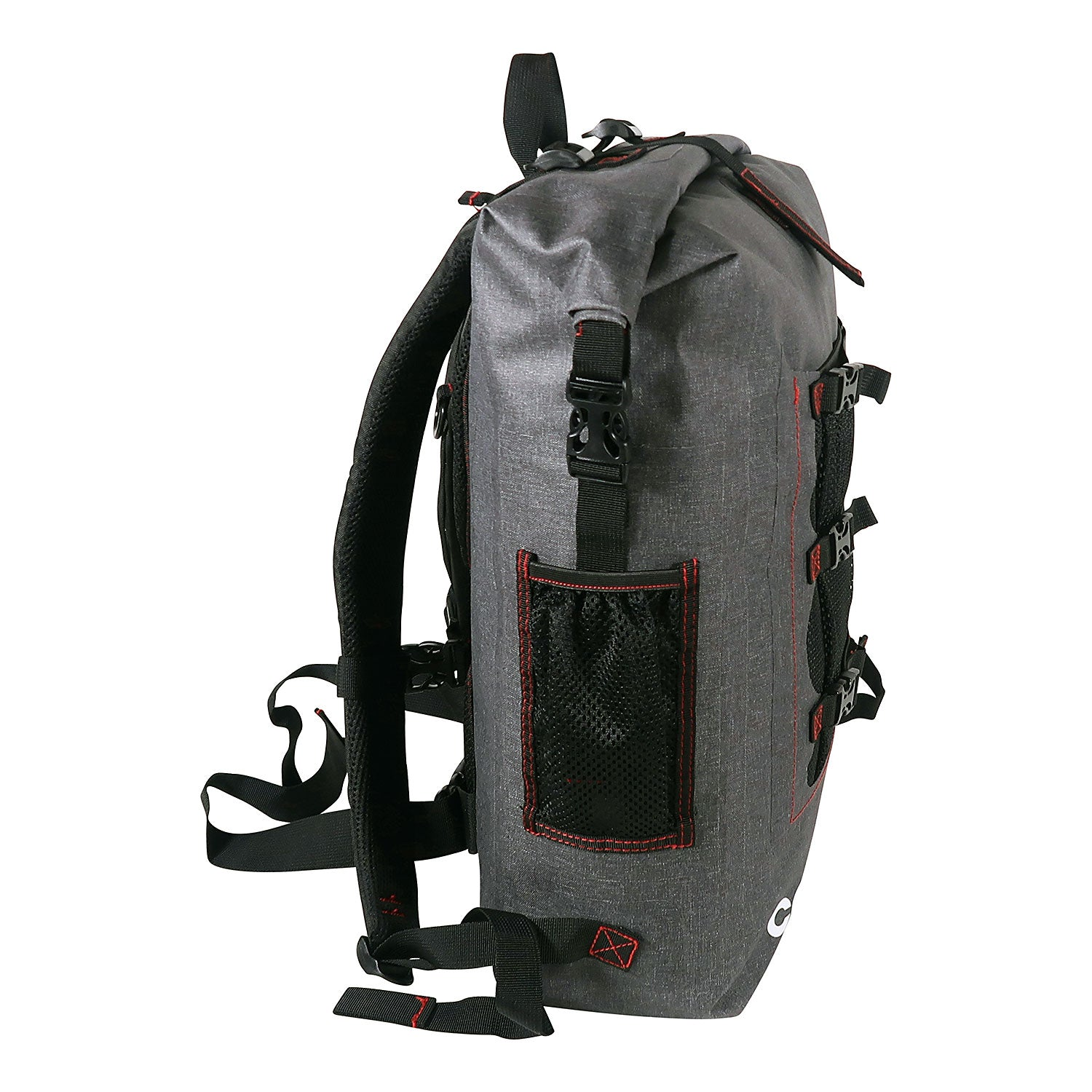 Load image into Gallery viewer, side look of the 30L Dry-Bag with Front Net Pouch