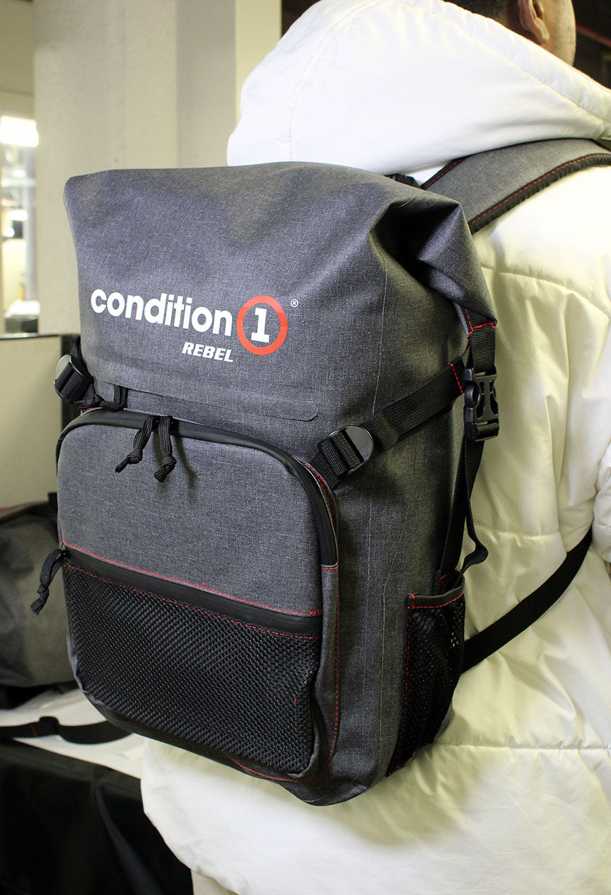 side look of the 30L Dry-Bag with Front Zippered Pocket