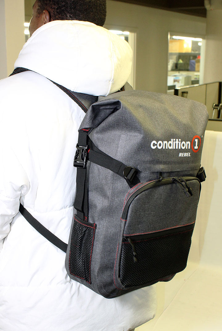 30L Dry-Bag with Front Zippered Pocket  at the back