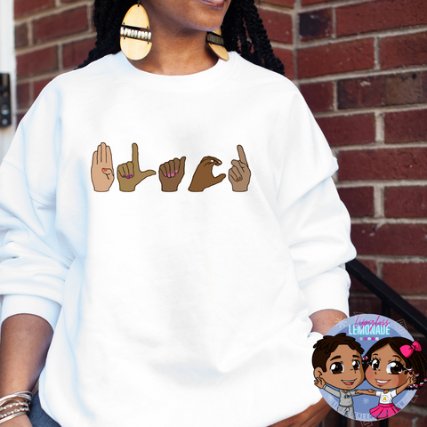 BLACK, ASL • Crewneck Sweatshirt