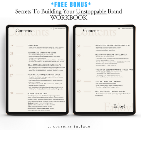 FREE BONUS | Secrets To Building An Unstoppable Brand Workbook | Co Co Agency