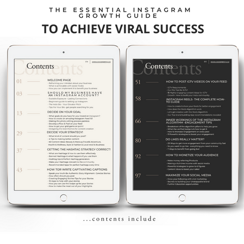 The essential Instagram growth Guide Contents Page | To Achieve Viral Success | For Influencers, Entrepreneurs & Brands