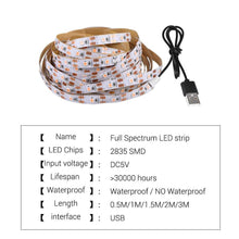 Load image into Gallery viewer, USB 5V Plant Growth Light With 2835 Lamp Beads Full Spectrum Plant Growth Light Bar (5934516895900)
