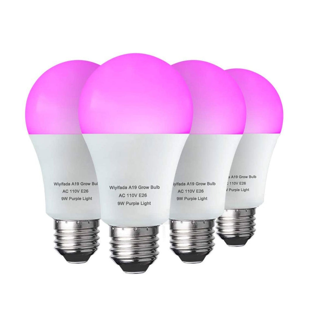 4 Pack LED Indoor Plant Grow Light Bulb A19 Bulb, Full Spectrum Plant Light Bulb, 9W E26 Grow Bulb Replace up to 100W, Grow Light for Indoor Plants, Flowers, Greenhouse,Hydroponic (6104808358044)