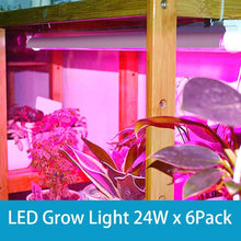 Load image into Gallery viewer, LED Grow Light, 144W( 6 x 24W, 800W Equivalent), 2ft T8, Full Spectrum, High Output, Linkable Design, T8 Integrated Bulb+Fixture, Plant Lights for Indoor Plants, 6-Pack (6063678881948)