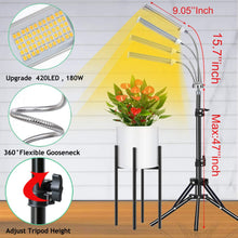 Load image into Gallery viewer, Grow Light with 47 inch Tripod Floor Standing 180W 4 Arm Updated 420 LEDs Plant Grow Light Lamps for Indoor Plants with Sunlike Full Spectrum 6 Dimmable Levels,4 Switch Modes (6063744843932)