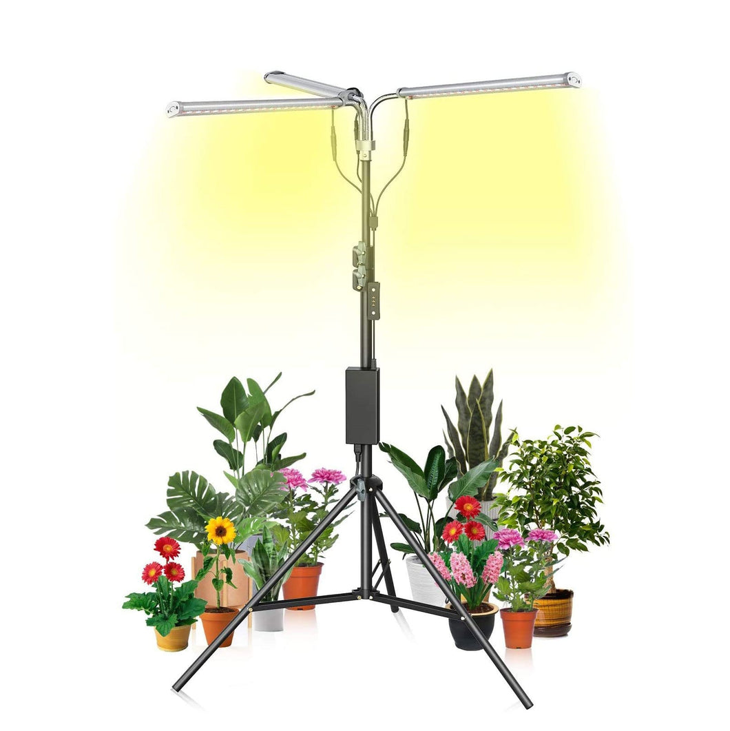LED Grow Light with Timer Plant Light Full Spectrum with Stand for Indoor Plants ,Tri Head Growing Lamp for seedlings Adjustable 37-79 in, 6/12/16H Timer & 3 Modes (6063782166684)