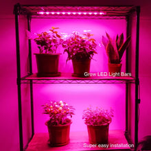 Load image into Gallery viewer, Grow Light Strip Kit 45W, 4 pcs 16 Inches LED Grow Light Strips with Extension Cables, Mounting Accessories for Greenhouse,Grow Shelf. Perfect for Indoor Growing-(4-Strip-Kit) (6063816802460)