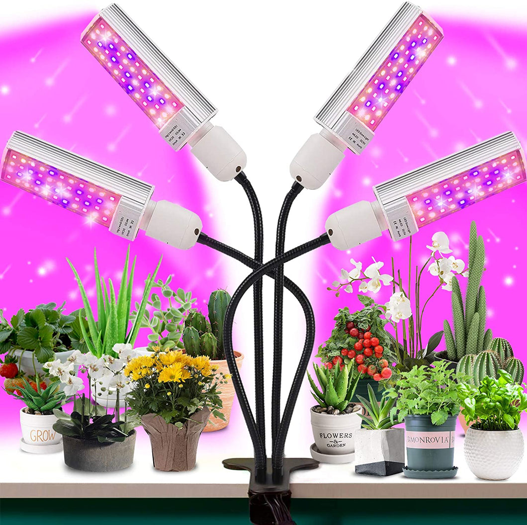 LED Grow Light for Plant- 4 Head 96W Full Spectrum for Grow lamp with 176 Beads.More Stronger Adjustable gooseneck, 3/6/12H Timer, 6 dimmable Level,4 Switch Modes for Indoor Plants Growth (6063636447388)