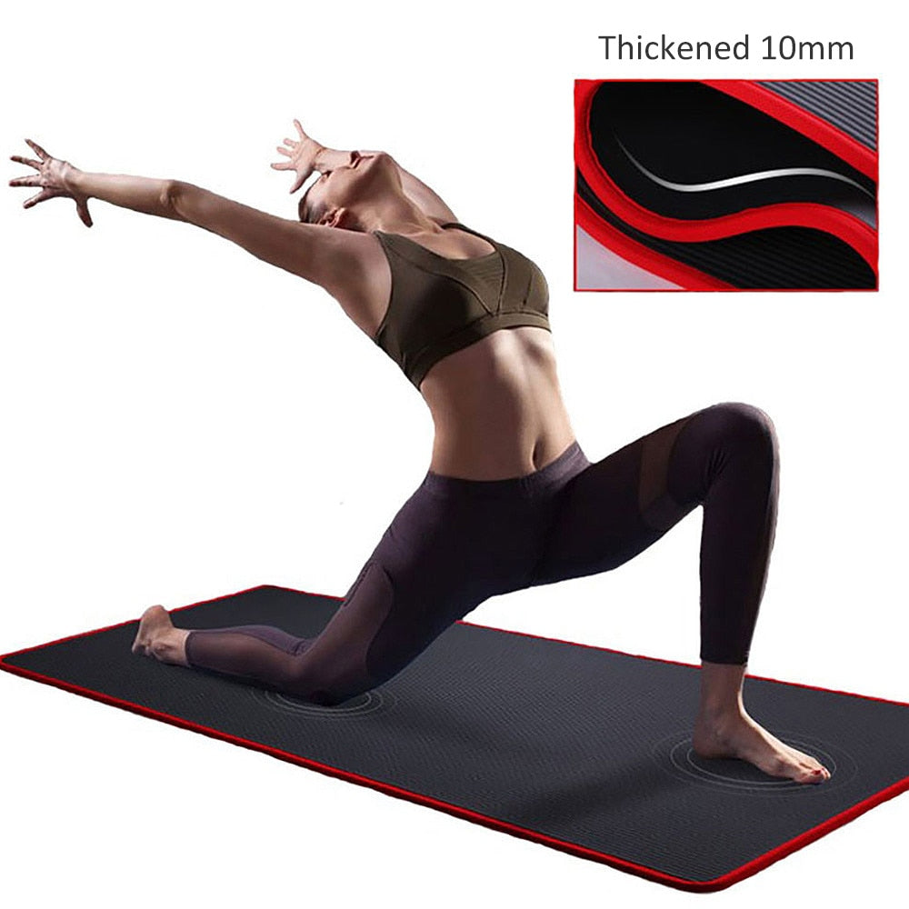 Yoga Double Layer Non-Slip Mat Exercise Pad With Position Line For Pilates P5Z7