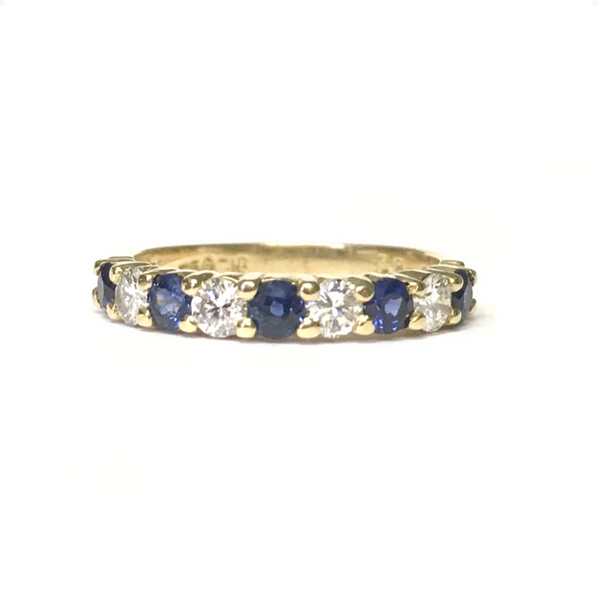 Preowned Yellow Gold Blue Sapphire and Diamond Band