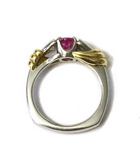 Platinum and Yellow Gold Pink Sapphire and Diamond Ring