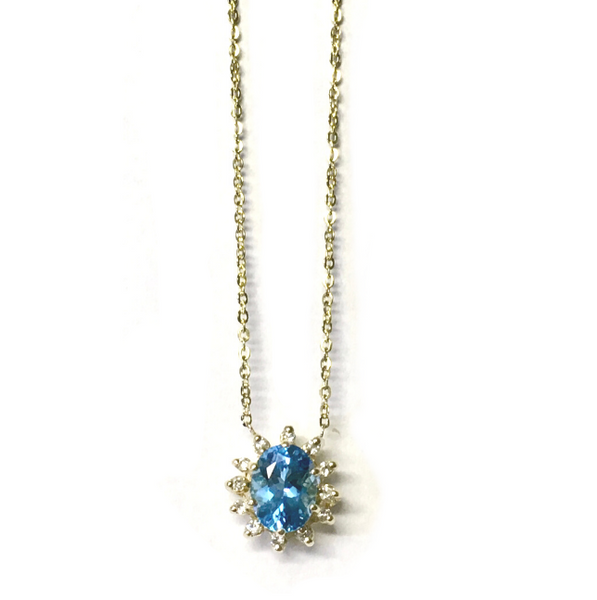 Preowned Yellow Gold Swiss Blue Topaz and Diamond Pendant