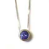 Preowned White Gold Round Tanzanite Pendant with Chain