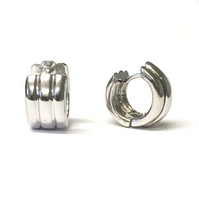 Preowned White Gold Ribbed Huggie Hoop Earrings
