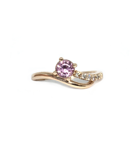 Rose Gold and Lotus Garnet Ring