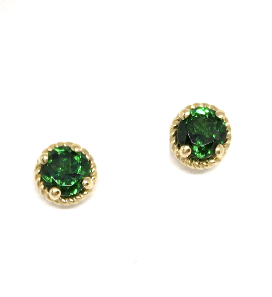 Yellow Gold and Tsavorite Garnet Stud Earrings