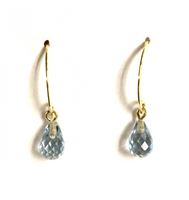Yellow Gold and Blue Topaz Drop Dangle Earrings