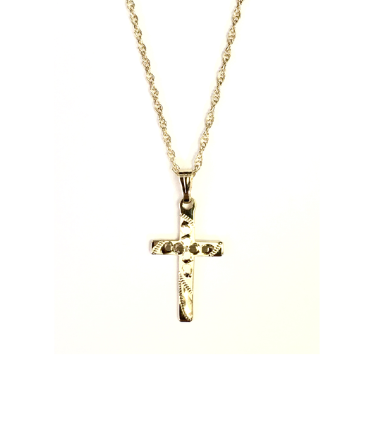 Yellow Gold Engraved Cross and Chain