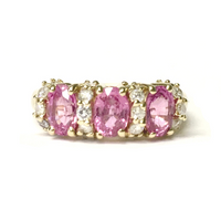 Preowned Yellow Gold Pink Sapphire and Diamond Ring