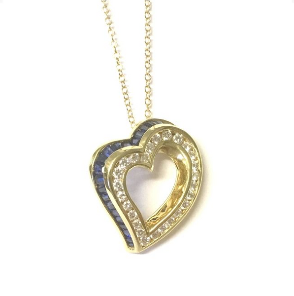 Preowned Charles Krypell Yellow Gold Blue Sapphire & Diamond Heart Pendant with Chain