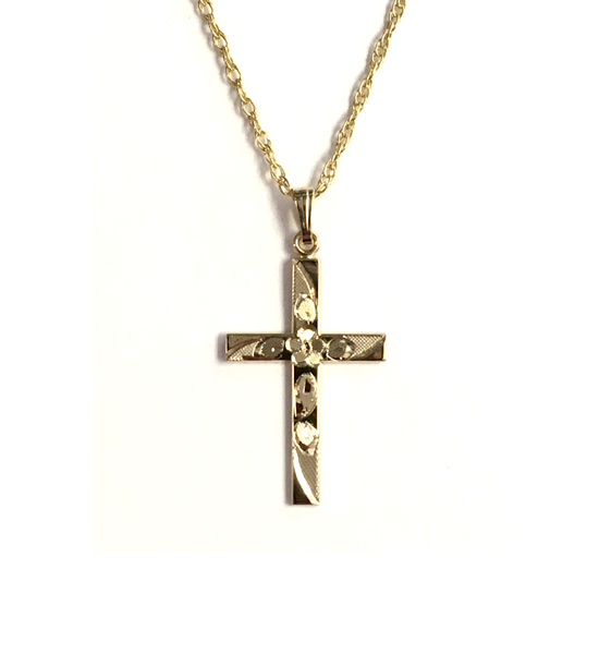 Yellow Gold-Filled Floral Engraved Cross and Chain