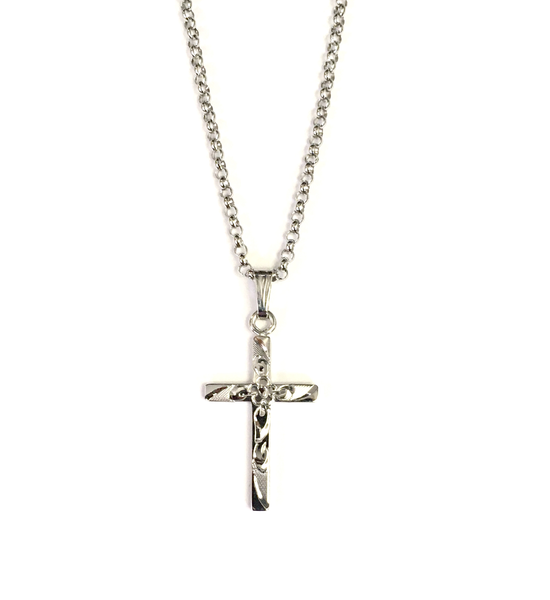 Sterling Silver Floral Engraved Cross and Chain