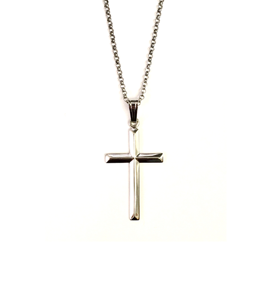 Sterling Silver Dimensional Cross and Chain