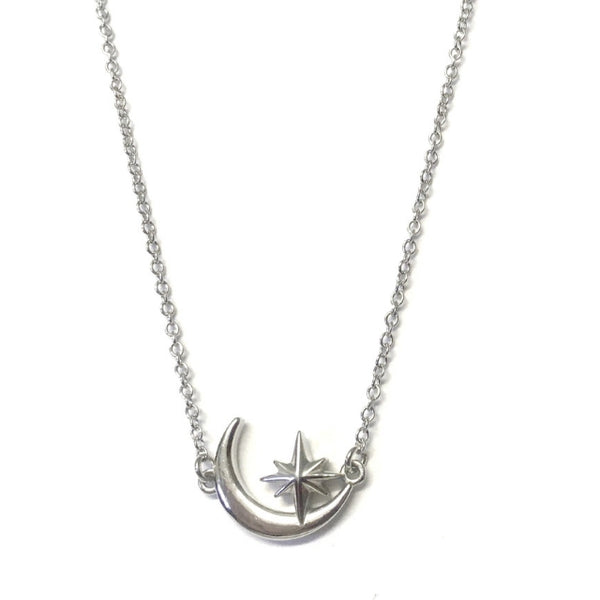 Sterling Silver Moon and Star