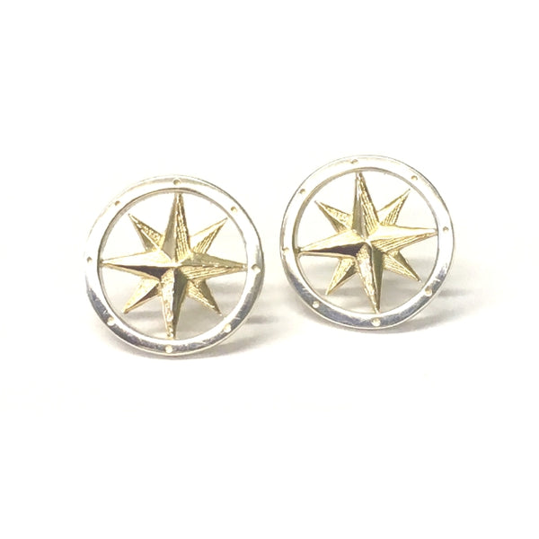 Sterling Silver and Yellow Gold Round Compass Stud Earrings