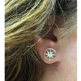 Sterling Silver Round Compass Stud Earrings