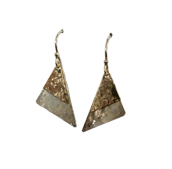 Sterling Silver and Yellow Gold Filled Triangle Hammered Dangle Earrings