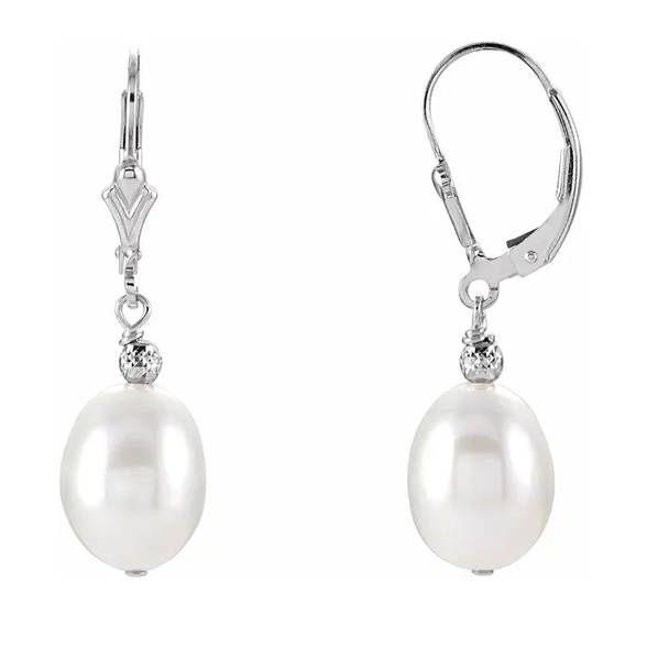 Sterling Silver 9-9.5mm Freshwater Cultured Pearl Dangle Earrings