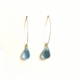Sterling Silver Blue Topaz Drop Dangle Earrings