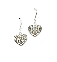 Southern Gates Sterling Silver Heart-Shaped Scroll Design Earrings