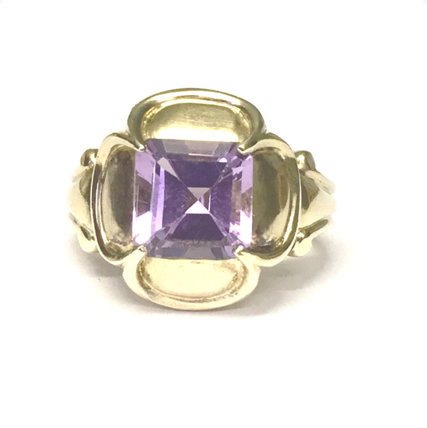 Preowned Sterling Silver and Yellow Gold Plated Amethyst Ring
