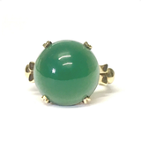 Preowned Yellow Gold Green Chalcedony Retro Ring