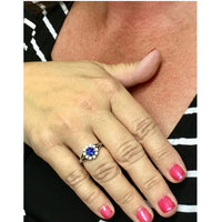 Preowned Blue Sapphire and Diamond Ring