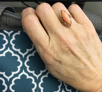 Preowned Yellow Gold Marquis Coral Ring
