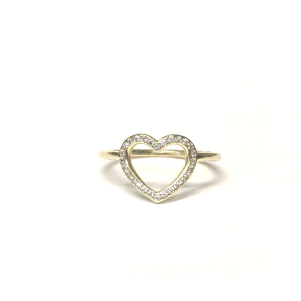 Preowned Yellow Gold Cubic Zirconia Pandora Heart Ring