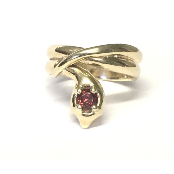 Preowned Yellow Gold Garnet Snake Reproduction Ring