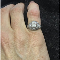 Preowned Platinum Old Cut Diamonds in Pierced Dome Ring
