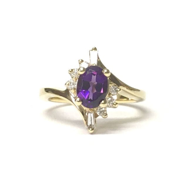 Preowned Yellow Gold Oval Amethyst and Diamond Ring