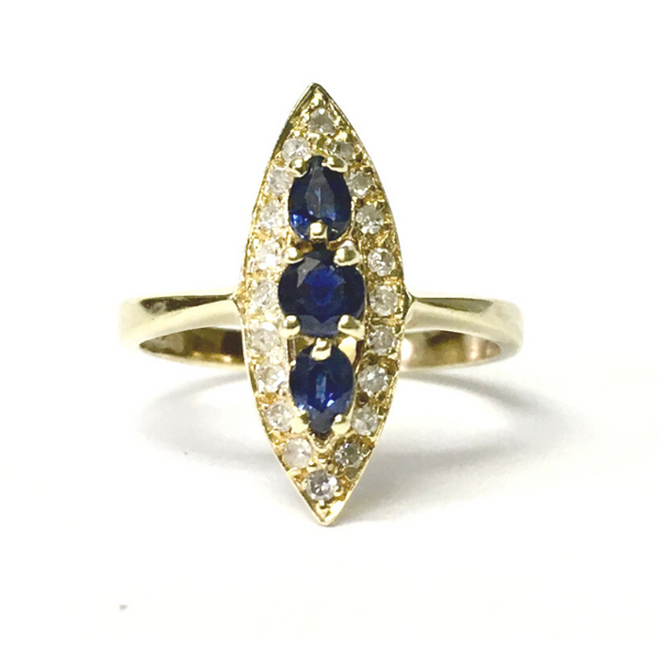 Preowned Yellow Gold Navette Blue Sapphire and Single Cut Diamond Ring