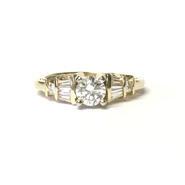 Preowned Yellow Gold Round and Baguette Diamond Engagement Ring