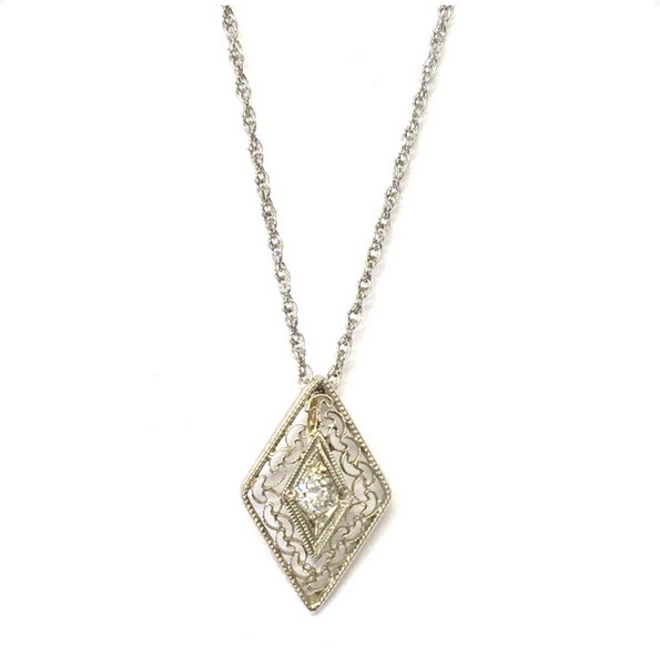 Preowned Petite White Gold Diamond Filigree Pendant