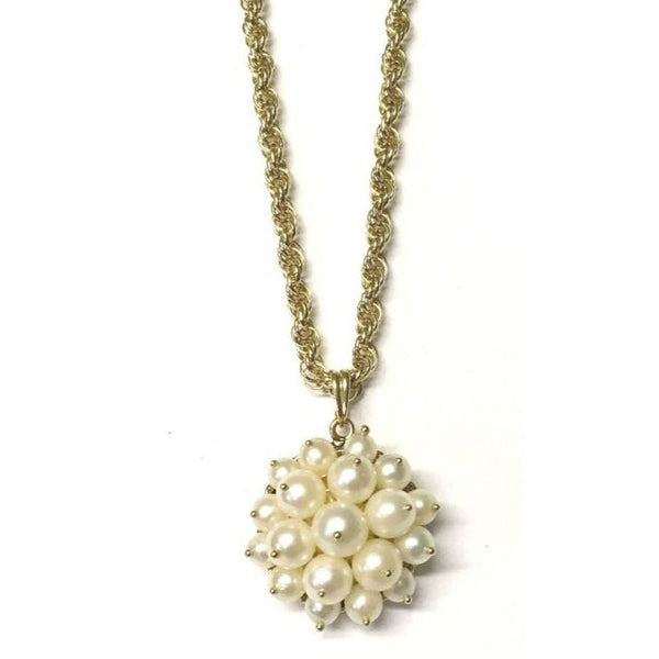 Preowned Yellow Gold Freshwater Cultured Pearl Cluster Pendant