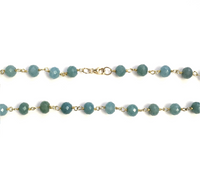 Blue Chalcedony and Vermeil Beaded Chain Necklace